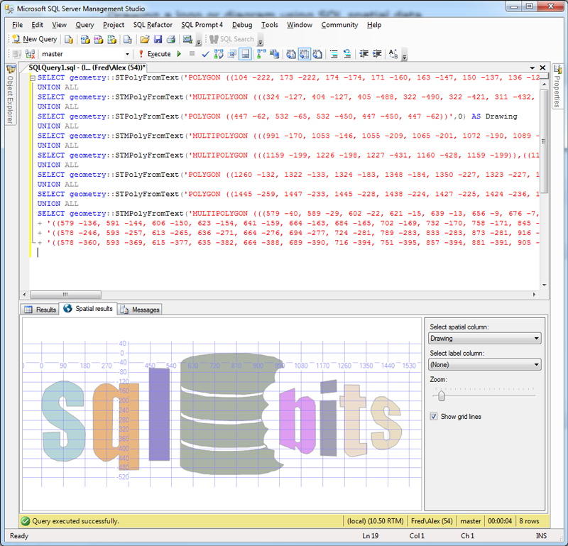 Drawing a logo or diagram using SQL spatial data – Purple