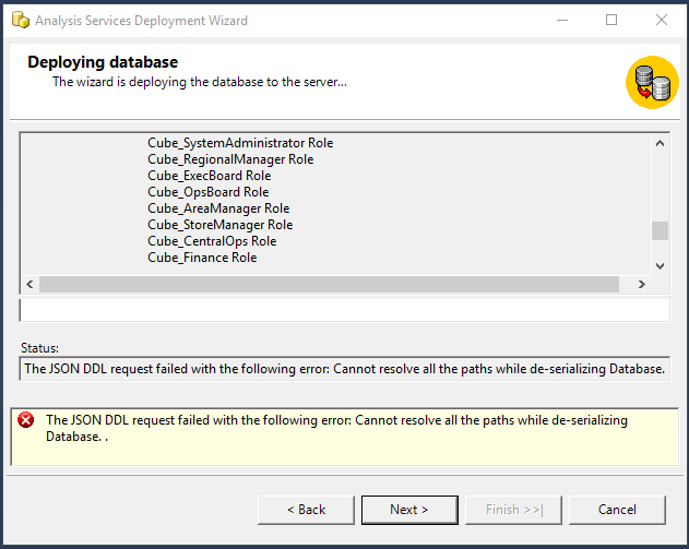 Cube deployment error: Cannot resolve all paths while de-serializing Database