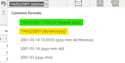 Selection of dynamic date formats