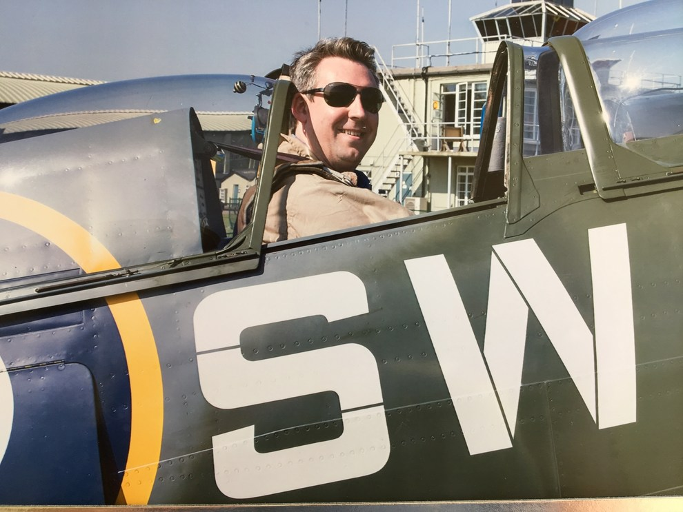 Alex Whittles in a Spitfire