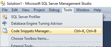 SQL Server Management Studio Code Snippets – Paul's Frog Blog